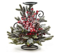 Snowy pine candleholder with red berries and pine cones on a metal form.<br><br>Candleholder is X X set of Christmas Candle Centerpieces, Country Christmas Decorations, Christmas Tablescapes, Christmas Candles, Christmas Wreaths, Christmas Crafts, Xmas, Flower Shop Decor, Christmas Floral Arrangements