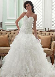 Sparkling Top  Wedding Dress with Ruffles