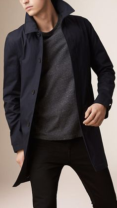 Burberry Ink Lightweight Cotton Car Coat - A lightweight car coat crafted in cotton twill. The understated design includes a concealed button placket and check undercollar. Discover the men's outerwear collection at Burberry.com