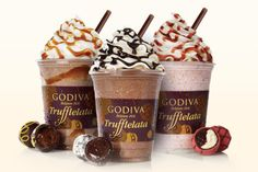 A brand new product from Godiva Chocolatier is a one-of-a-kind frozen beverage called Godiva Trufflelata, arriving just in time for summer. Description from nwitimes.com. I searched for this on bing.com/images