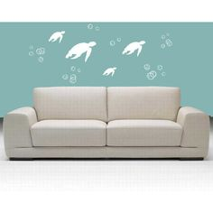 SPRING SALE Ocean Wall Decal Under the Sea Turtles and Bubbles... ($30) ❤ liked on Polyvore