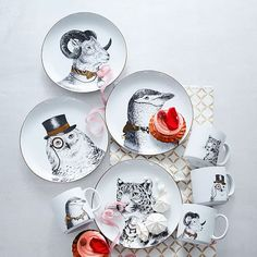 Gilded Dapper Animal Plates | West Elm