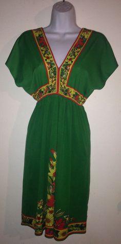 Flying Monkey Kimono Plunge Floral Dress Size L #FlyingMonkey #Sundress #Casual
