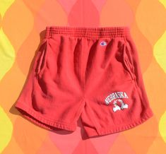 vintage 80s shorts NEBRASKA huskers sweatpants Medium Small champion reverse weave Nebraska, Red Sweatpants, 70s Shirts, Soft Corals, 30 Years Old, Vintage Shorts, Coral Pink, Gym Shorts Womens, Random
