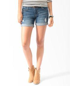 Distressed Cuffed Denim Shorts   FOREVER21 - 2000042714