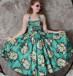 b57e5f3f0ba 1950s Alfred Shaheen Dress Surf N  Sand Hawaiian Green Halter Sundress Mint  Deadstock Hawaiian Pattern