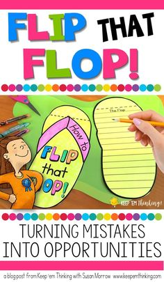 Teaching growth mindset - Flip That Flop! Turning Mistakes Into Opportunities – Teaching growth mindset Elementary School Counseling, School Social Work, School Counselor, Elementary Schools, Elementary Teacher, Social Emotional Learning, Social Skills, Coping Skills, Life Skills