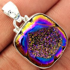 Carved Window Druzy 925 Sterling Silver Pendant Jewelry CWDP223 - JJDesignerJewelry