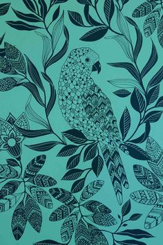 Perched parakeets is a pattern with full on coverage, dark green birds and  floral print scatter their way across a pale bright mint ground. This paper  will definitely add a sense of fun to your room!  The pattern is a 76cm straight repeat. The roll measures 10 meters long and  52cm wide.