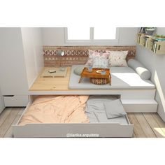 Small Bedroom Storage, Small Bedroom Furniture, Home Decor Furniture, Bedroom Decor, Modern Boys Rooms, Cool Kids Bedrooms, Cool Rooms, Hidden Bed, Bedroom Layouts