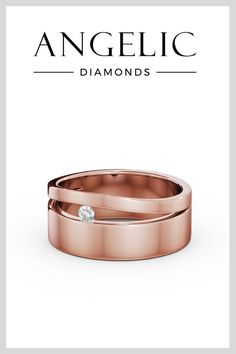 Diamonds can be a man's best friend, too! This men's wedding band in rose gold features a beautiful solitaire diamond. It's the perfect men's wedding ring for any stylish, classy man.