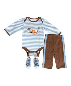 This Baby Gear Blue Stripe Fox & Raccoon Bodysuit Set - Infant by  is perfect! #zulilyfinds