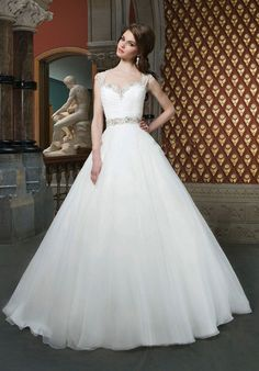 Organza A-line Chapel Train Natural Waist Queen Anne Wedding Dress