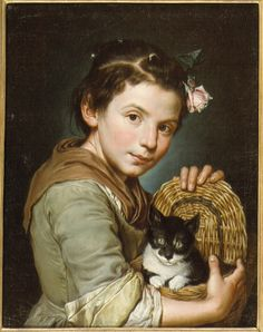 2019 Giacomo called Il Pitocchetto Cerutti Girl with a cat painting size: file size: 882 KByte Crazy Cat Lady, Crazy Cats, Fine Art Prints, Canvas Prints, Illustration Art, Illustrations, Vintage Cat, I Love Cats, Cat Art