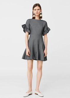 Discover the latest trends in Mango fashion, footwear and accessories. Shop the best outfits for this season at our online store. Ruffle Sleeve Dress, Short Sleeve Dresses, Mango Fashion, Mantel, Latest Trends, High Neck Dress, Dresses For Work, Sleeves, Blouse