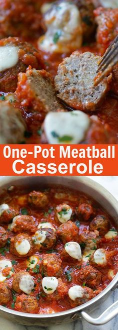 Recipe with Ground Beef Meatballs Meatball Casserole – one pot juicy and delicious meatballs in tomato sauce and topped with mozzarella cheese, homemade comfort food Italian Recipes, New Recipes, Dinner Recipes, Healthy Recipes, Delicious Recipes, Dinner Ideas, Slow Cooker Recipes, Crockpot Recipes, Appetizers