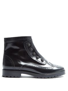 "GABRIELLE'S AMAZING FANTASY CLOSET |Rue St.""Bateman Street"" black brogue-detail leather ankle boots"