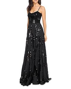 Dress the Population Marianna Sequin Gown Women - Dresses - Evening & Formal Gowns - Bloomingdale's Black Tie Gown, Black Sequin Gown, Formal Evening Dresses, Formal Gowns, Evening Gowns, Black Tie Wedding, Dress The Population, Different Dresses, Sequin Fabric
