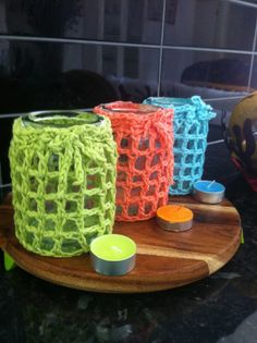 Tea light jar cosy pdf pattern upcycled yarn crochet by TigsTogs