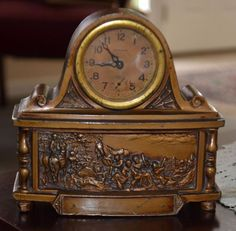 Rare Antique Ansonia Brass Coated Iron Clock, Embossed Battle Scene, 5 1/2 Inch