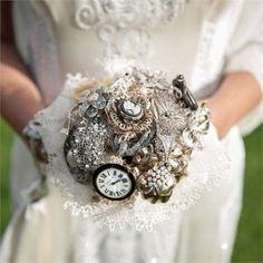 brooches and clocks for a bridal bouquet