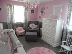 The pretty pink and gray princess nursery that we decorated for our baby girl nursery is a room that can grow with our baby from infancy through the toddler