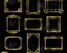 Gold ART DECO BORDER Clip Art: Art Deco Design by MNINEDESIGNS