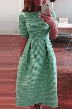 @roressclothes clothing ideas #women fashion Green Round Neck Half Sleeve Dress
