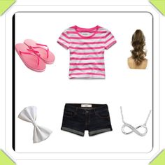 Cute outfit: Pink striped top, flip flops, hair bow, necklace and curled hair in high ponytail.