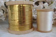 SPOOL VINTAGE FRENCH GOLD METAL PLATE METALLIC EMBROIDERY THREAD FLOSS TINSEL