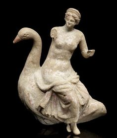 Greek terracotta group of Aphrodite on a goose, Or Leda and the Zeus as a swan - from Hellenistic period, circa 2nd c. BC