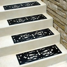 Best No Slip Treads For Stairs Ideas : Chic Home Inetrior Design With  Straight White Stair Combine With Black Non Slip Rubber Mat Also Natural  Brown Brick ...