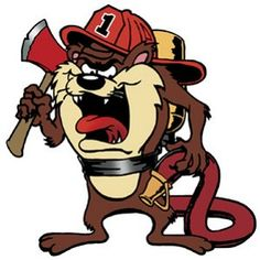 Firefighter Tasmanian Devil Color Sticker
