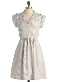 Champs-Elysees You Do Too Dress by Bibico - Casual, Safari, Vintage Inspired, Grey, Stripes, Buttons, Pockets, Shirt Dress, Short Sleeves, White, Eco-Friendly, Scholastic/Collegiate, Cotton, Button Down, Collared, Fit & Flare, V Neck, International Designer, Mid-length