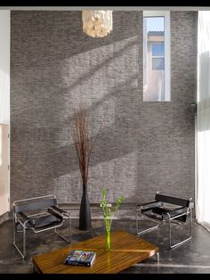 Zen room. Wall is made of tiles. Neat!