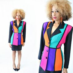 vintage 90s FLY GIRL color block POWER suit size M by PasseNouveauVintage, $52.00