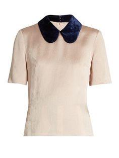 Madden velvet-collar silk blend top by Roksanda