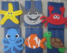 Ocean Animals Birthday Party Favor Bag by christinescritters Under The Sea Theme, Under The Sea Party, Party Favor Bags, Birthday Party Favors, Favor Boxes, Preschool Crafts, Crafts For Kids, Sea Crafts, Animal Birthday