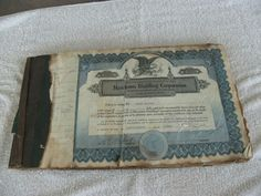 Merchants Distilling Corporation Stock Certificates 1936
