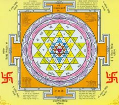 """A Sri Yantra is a type of mandala with geometric patterns. These visual patterns can have a powerful effect on the mind. creating a balancing and used to quiet a restless mind. Sanskrit Mantra, Sanskrit Words, Tantra Art, Hindu Worship, Birth And Death, Sacred Symbols, Spiritual Symbols, Vedic Astrology, Mandala Design"