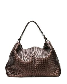 Large Metallic Cervo Shoulder Bag, Brown by Bottega Veneta at Neiman Marcus.