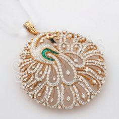 7-68ct-NATURAL-DIAMOND-14K-YELLOW-GOLD-RUBY-ENAMEL-WEDDING-PEACOCK-PENDANT