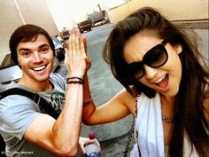 Shay Mitchell and Ian Harding behind the scenes of Pretty Little Liars