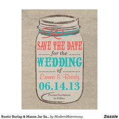 Rustic Burlap & Mason Jar Save the Date - Coral Postcard Perfect for a rustic, vintage, or country themed wedding. Features a burlap background with rustic mason jar and ribbon to coordinate with your wedding colors. I would be happy to customize the colors to match your wedding theme, so just send me an email!