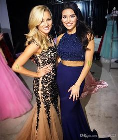 Sparkly Navy Blue Two Pieces Mermaid Prom Dresses 2016 Jewel Sleeveless Beaded Prom Dresses Long Floor Length Formal Evening Party Wear Prom Dress For Plus Size Prom Dress Under 200 From Angelia0223, $190.99| Dhgate.Com