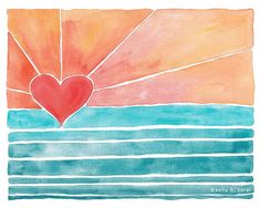 Wave Art - Surf Art - Beach Art - Sunny Days Art Print - Pink - Coral - Heart on Etsy, $18.00