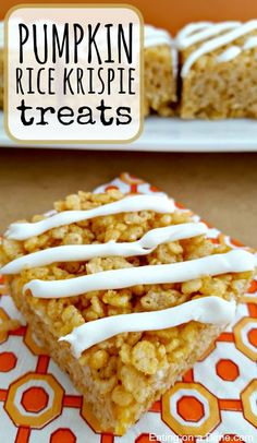These Pumpkin Rice krispie treats are delicious. You can cut them up small and slide them into a school lunch for a special treat or serve them at your next party. Either way, your family will love this easy dessert.