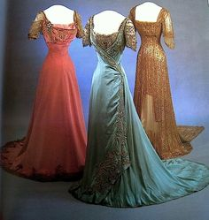 Ryn Tomas • 2 years ago Three Evening Gowns, 1907-9 Centre gown by Laferriere, Paris The National Museum of Art, Architecture and Design / Museum of Decorative Arts and Design, Oslo worn by Queen Maud of Norway