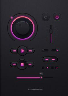 Music #Player #UI Kit,  #Buttons, #Checkbox, #Dark, #Free, #Knob, #Progress, #PSD, #Radio, #Resource, #Slider, #Switch, #Toggle, #Volume