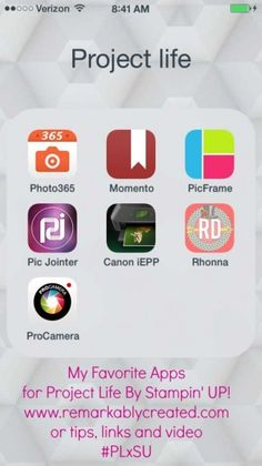 Great Apps for use with Project Life by Stampin' UP! thanks Janet Wakeland. #suprojlife #projectlife